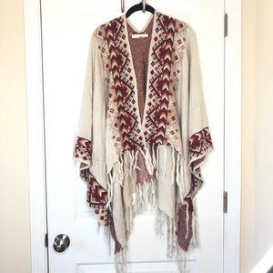 Lovestitch Aztec Boho Knit Poncho with Fringe